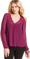GUESS Top, Gemma Long-Sleeve V-Neck Lace A-Line