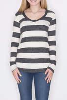 Cherish Striped V Neck Pullover