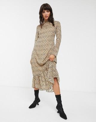 Glamorous high neck maxi dress with peplum hem in jaquard spot-Tan