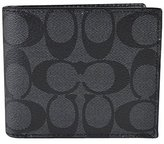 Coach Compact ID Signature PVC Wallet 74993 Charcoal