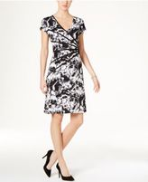Connected Petite Piped Floral-Print A-Line Dress