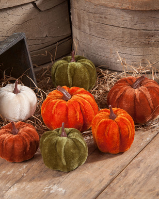 Bethany Lowe Velveteen Pumpkins in Bag, Set of 7