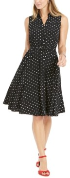 Charter Club Petite Polka Dot Belted Fit & Flare Dress, Created for Macy's
