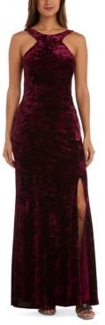 Morgan & Company Juniors' Velvet Halter-Neck Gown