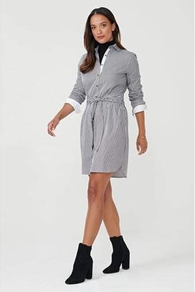 UNTUCKit Alexa Striped Stretch Cotton Shirtdress (Black Stripe) Women's Dress