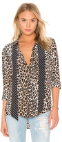 Equipment Kate Moss for Slim Signature Cheetah Print Tie Neck Blouse