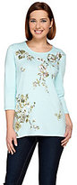 As Is Quacker Factory Printed Floral and Sequin 3/4 Sleeve T-shirt
