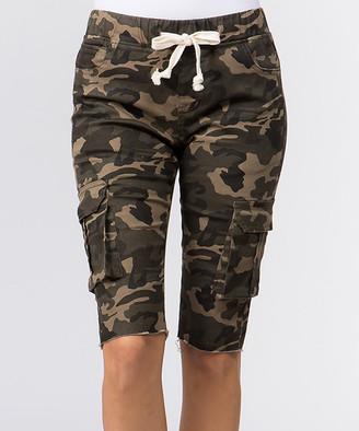 American Bazi Women's Casual Shorts - Camo Drawstring Skinny Cargo Shorts - Women