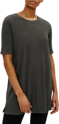 Eileen Fisher Crewneck Elbow-Sleeve Ribbed Tunic