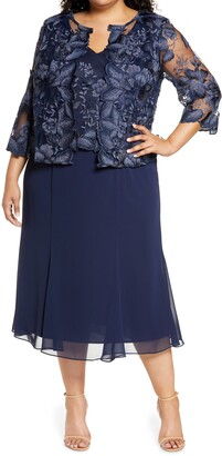 Alex Evenings Mock Jacket Midi Dress