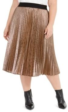 Alfani Plus Size Pleated Metallic Midi Skirt, Created for Macy's