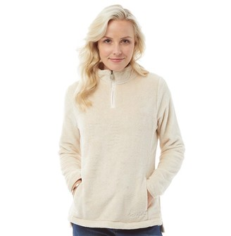 Weird Fish Womens Maiya 1/4 Zip Plush Fleece Chalk
