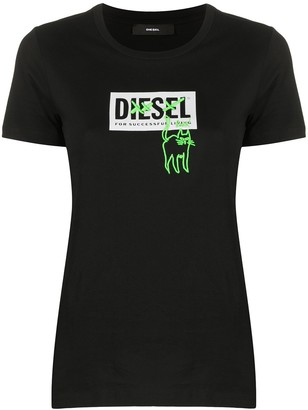 Diesel cat embroidery logo T-shirt