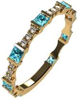 Nana Silver Stackable Ring Princess Cut Yellow Gold Plated - Size 8 - Simulated Aquamarine - March Birthstone