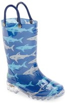 Western Chief Boy's 'Deep Sea Sharks' Light-Up Rain Boot