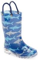 Western Chief Boy's 'Deep Sea Sharks' Light-Up Rain Boot