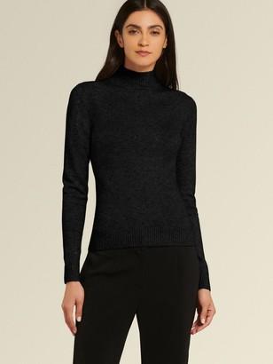 DKNY Donna Karan Women's Crystal Studded Turtleneck - Black - Size XL