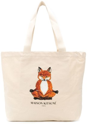 MAISON KITSUNÉ Yoga Fox canvas tote