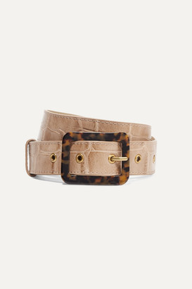STAUD Croc-effect Leather Belt - Beige
