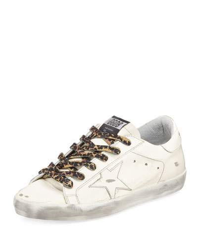 Golden Goose Superstar Leather Low-Top Sneakers with Leopard Laces