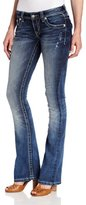 Miss Me Juniors Leather Horseshoe Wing Bootcut Jean
