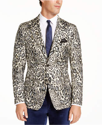 Tallia Men Slim-Fit Black Cream Leopard Metallic Dinner Jacket
