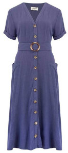 Sugarhill Boutique Cassidy Linen Midi Dress Indigo - 8