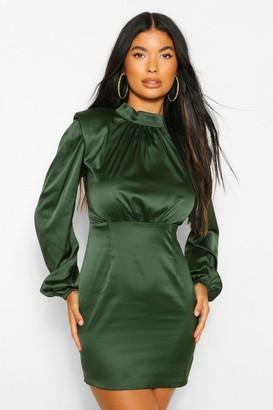 boohoo Petite Shoulder Pad High Neck Satin Mini Dress