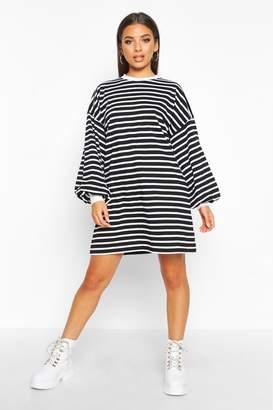 boohoo Stripe Long Sleeve Cuff T-Shirt Dress