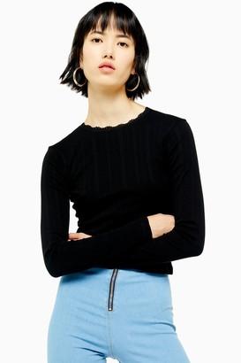 Topshop Womens Tall Black Pointelle Long Sleeve Top - Black