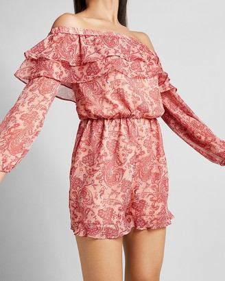 Express Paisley Off The Shoulder Ruffle Romper