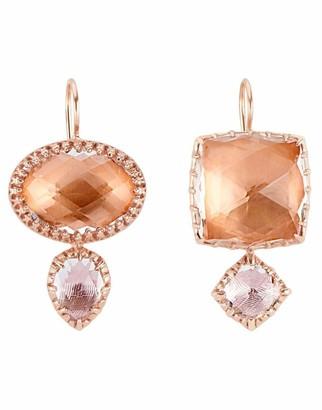 Larkspur & Hawk Bellini and Ballet Pink Sadie Mismatched Double Quartz Drop Earrings