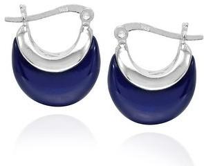 Aeravida Handmade Crescent Moon 16mm Huggie Hoop .925 Sterling Silver Earrings