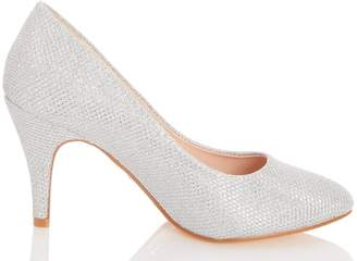 Dorothy Perkins Womens *Quiz Wide Fit Silver Almond Toe Court Shoes, Silver