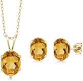 Gem Stone King 2.45 Ct Oval Citrine Gold Plated Silver Pendant Earrings Set