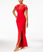 Night Way Nightway Illusion Mesh Cold-Shoulder Gown