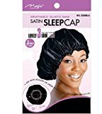 "Satin Sleeping Cap, 23"" JUMBO XL X-Large BLACK Breathable and Comfortable Material, Elastic Band, Accommodate Large Hair Curlers and Rollers, Keeps Hair Styles in Place and Silky Satin Material to Help to Prevent Hair Breakage"