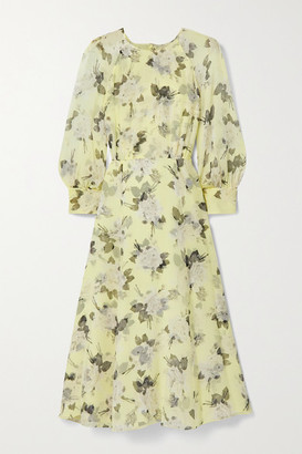 Erdem Yusra Floral-print Silk-voile Midi Dress - Pastel yellow