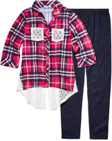 One Step Up PLAID TOP W/ KNIT DENIM LEGGING SET