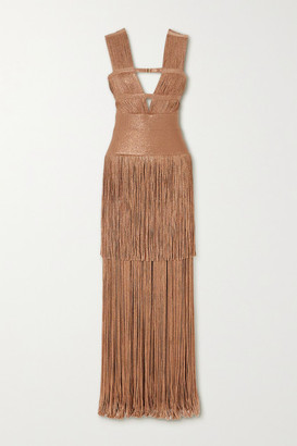 Herve Leger Fringed Metallic Bandage Gown - Gold