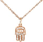 Ice Mini Diamond Accented Hamsa Hand of God Pendant & Chain in 14K Rose Gold