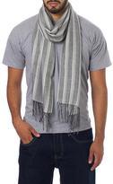 Men's Alpaca and Silk Scarf in Grey and Beige Herringbone, 'Distinguished Grey'