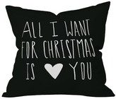 """DENY Designs Black Typography Leah Flores All I Want For Christmas Is You Throw Pillow (16""""x16"""