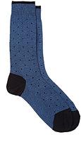 Barneys New York Men's Dotted Mid-Calf Socks-BLUE