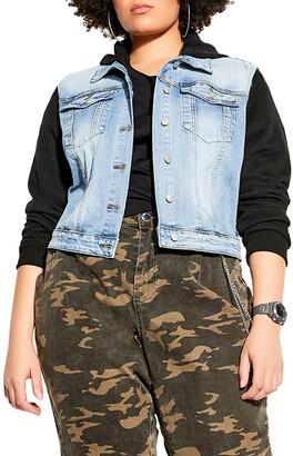 City Chic Street Crop Hoodie Denim Trucker Jacket