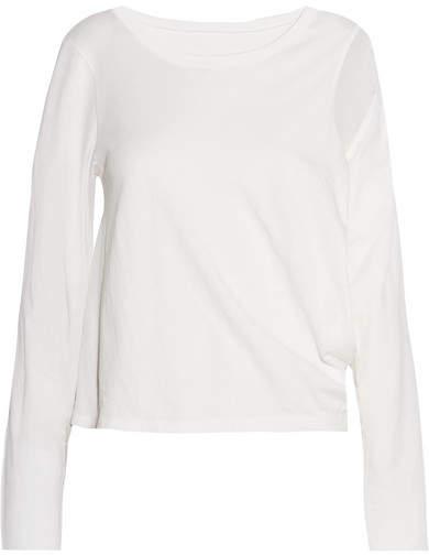 MM6 MAISON MARGIELA Cutout Cotton-jersey Top - Off-white