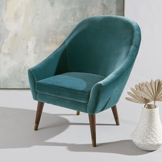 "Safavieh Couture Jayana 30.3"" W Faux Leather Armchair Fabric: Dark Teal"