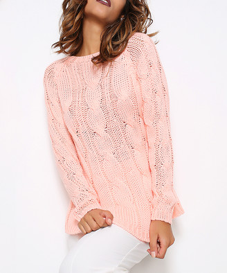 Hopoi HOPOI Women's Pullover Sweaters Salmon - Salmon Ribbed-Cuff Wool-Blend Sweater - Women