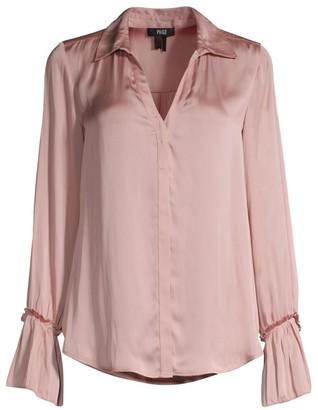Paige Abriana Ruffle Cuff Satin Shirt
