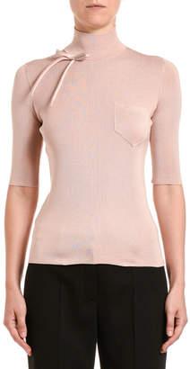Prada High-Neck 1/2-Sleeve Top w/ Bow